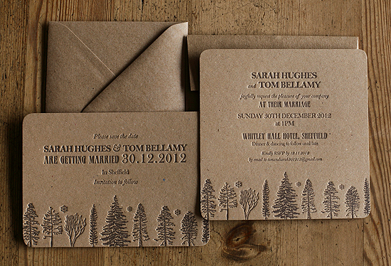 Wedding Invitations Recycled Paper: Recycled Brown Letterpress Wedding Invitations